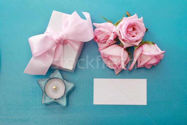 Stock fotó: Ajándék · doboz · rózsaszín · rózsák · üres · kártya · papír · esküvő
