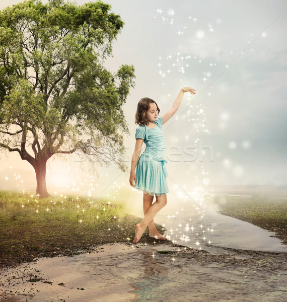 Little Girl at a Shining Brook Stock photo © Melpomene