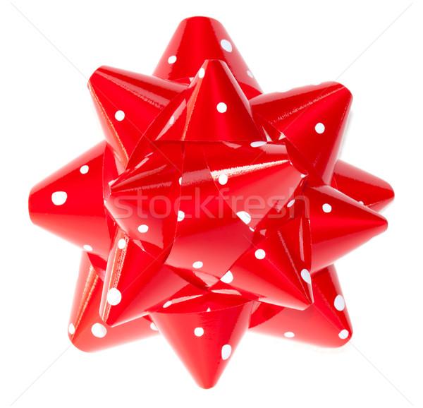 Piros pöttyös ajándék íj izolált fehér Stock fotó © Melpomene
