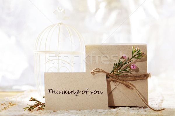 Thinking of you, hand crafted card and present box  Stock photo © Melpomene