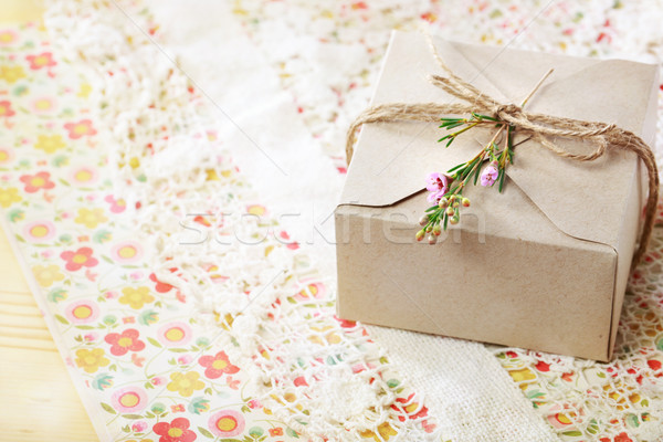 Hand crafted card stock present box Stock photo © Melpomene