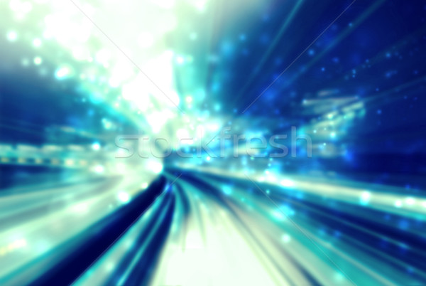 Stock photo: Blue abstract shiny light futuristic pathway