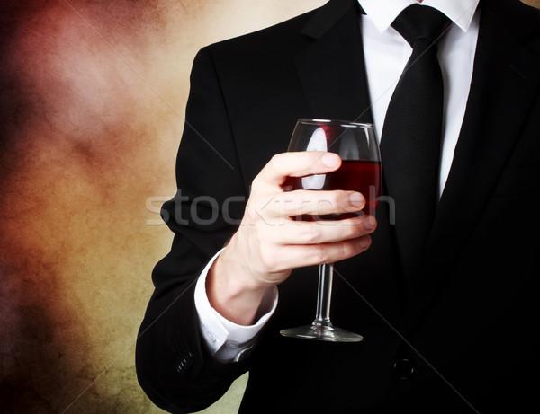 Foto stock: Moço · vidro · vinho · tinto · elegante · festa