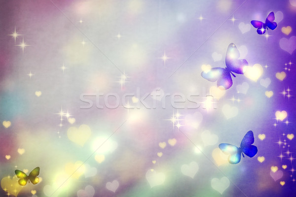 Butterfly silhouettes on purple background Stock photo © Melpomene