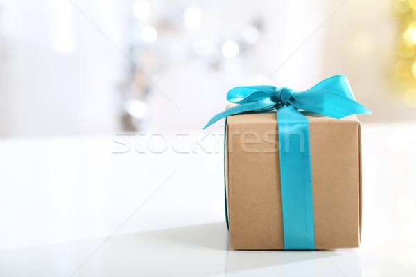 Gift box with Teal bow  Stock photo © Melpomene