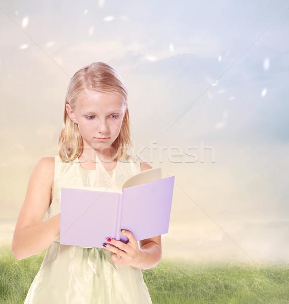 Kicsi szőke lány olvas könyv mező Stock fotó © Melpomene