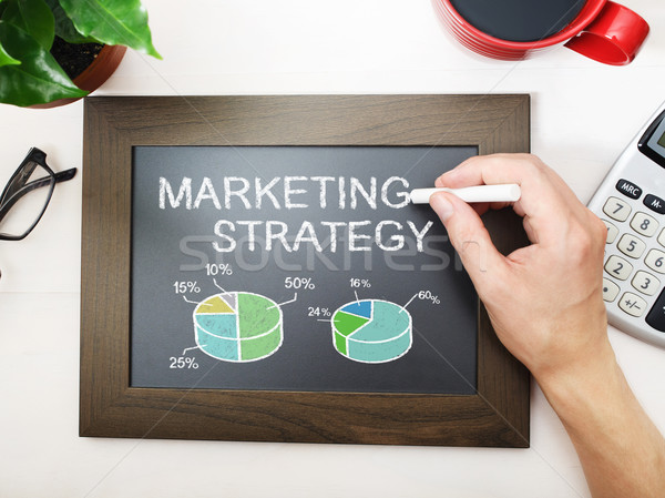Marketing strategy sketched on a black chalkboard Stock photo © Melpomene