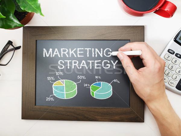 Estratégia de marketing preto quadro-negro pequeno negócio estudante Foto stock © Melpomene