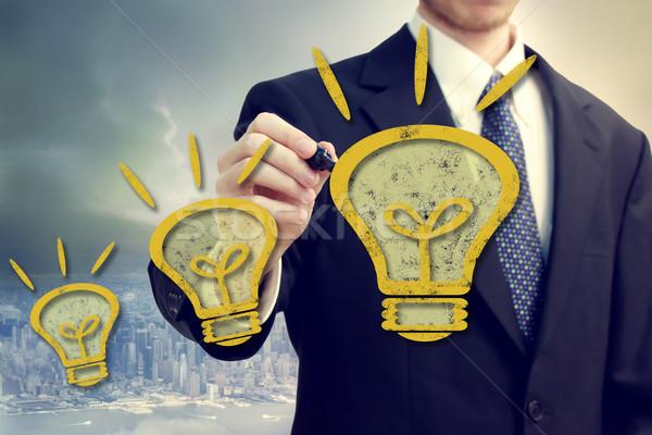 Stock foto: Mann · Idee · Geschäftsmann · gelb · Glühbirnen · über