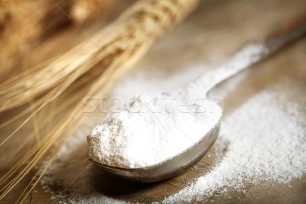 Wheat flour in measruing spoon Stock photo © Melpomene