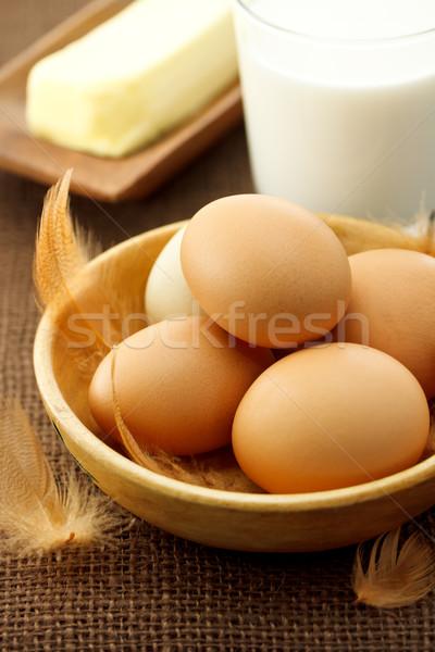 Yumurta süt tereyağı çuval bezi bez gıda Stok fotoğraf © Melpomene