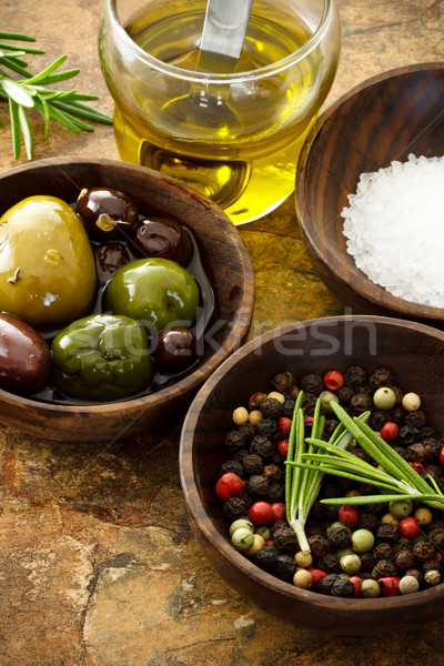 Olive oil, peppercorn, sea salt Stock photo © Melpomene