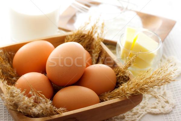 Bolo ingredientes ovos manteiga leite Foto stock © Melpomene