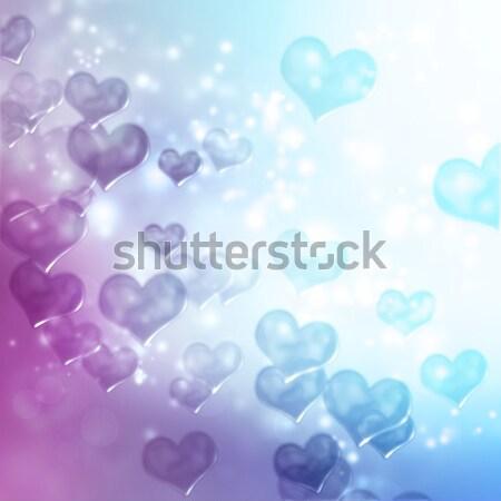 Soyut kalp ışıklar mor pembe yeşil Stok fotoğraf © Melpomene