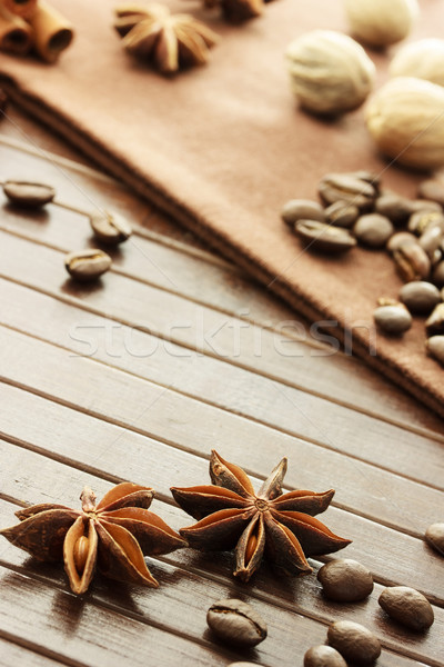 Star anijs koffiebonen nootmuskaat kaneel collectie Stockfoto © Melpomene
