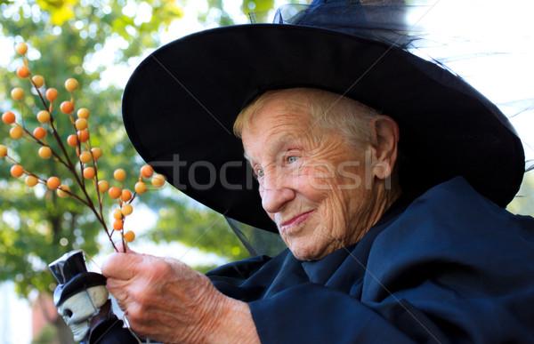 Idős hölgy boszorkány jelmez repülés mosoly Stock fotó © Melpomene