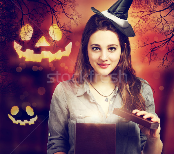 Halloween Cute Witch with Halloween Pumpkins Stock photo © Melpomene
