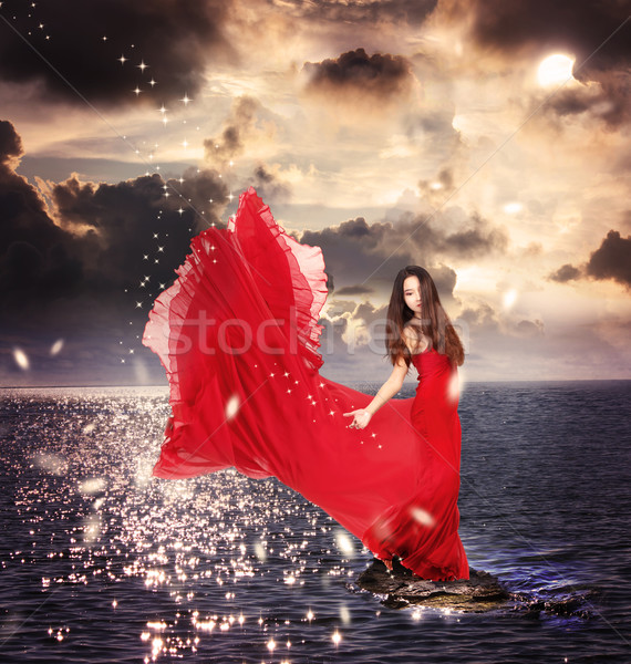 Girl in Red Dress Standing on Ocean Rocks Stock photo © Melpomene