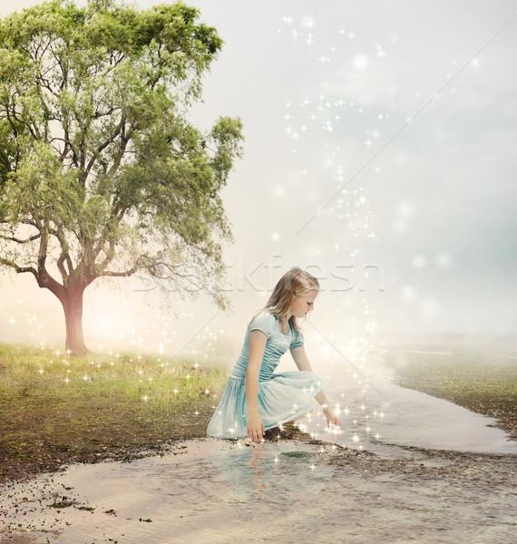 Girl at a Magical Brook Stock photo © Melpomene