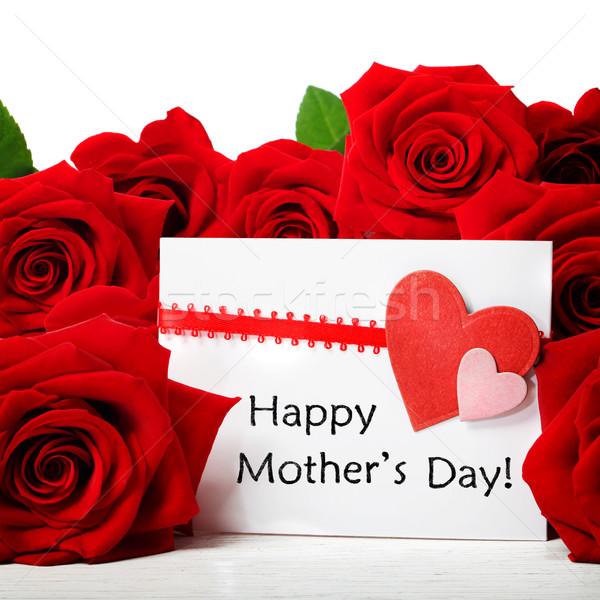 Stock fotó: Anyák · nap · üzenet · vörös · rózsák · kártya · gyönyörű