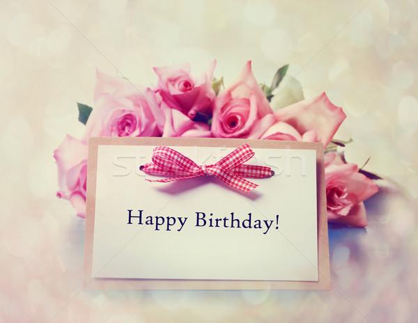 С Днем Рождения карт ретро розовый роз сообщение Сток-фото © Melpomene