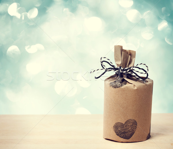 Present wraped in a rustic earthy style Stock photo © Melpomene