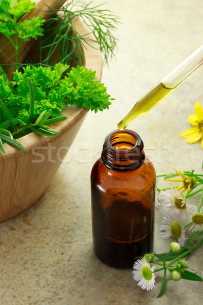 Herbal medicine with dropper bottle Stock photo © Melpomene