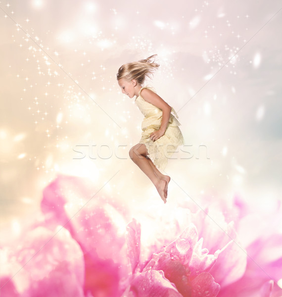 Blond Girl Jumping (Fantasy) Stock photo © Melpomene