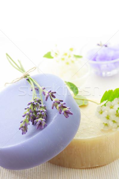 ストックフォト: ハンドメイド · 石鹸 · 白い花 · 新鮮な · 花