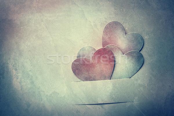 Kézzel készített papír szívek klasszikus kifakult textúra Stock fotó © Melpomene
