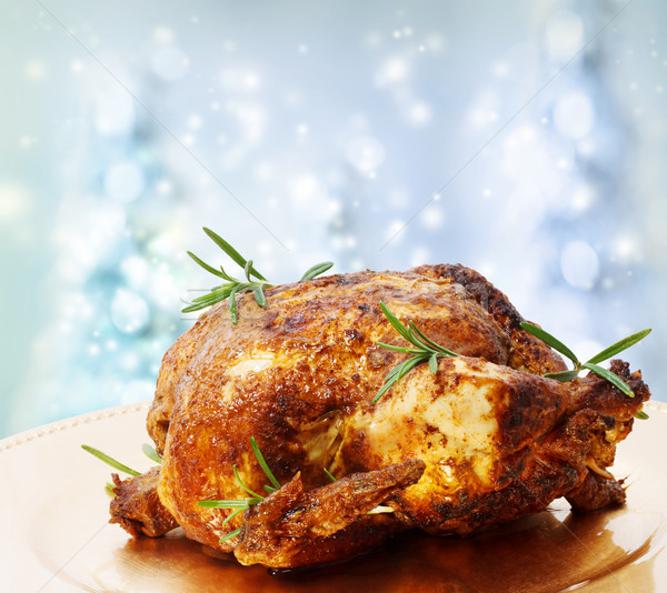 Roasted Whole Chicken with Rosemary Stock photo © Melpomene