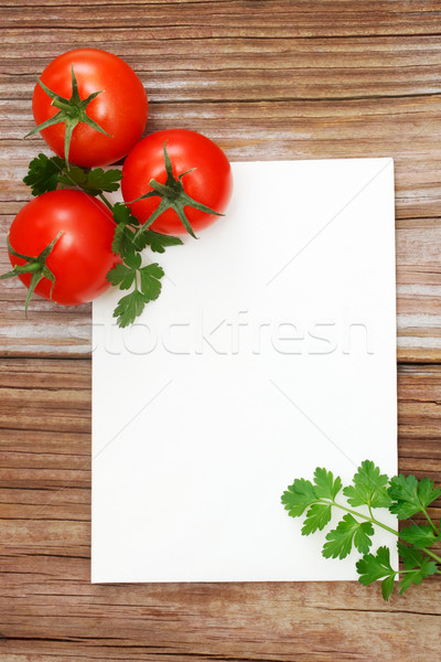 Tomates bois blanche notepad fruits table Photo stock © Melpomene