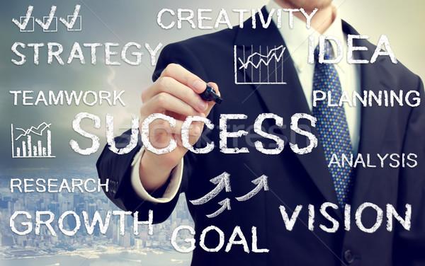 Businessman writing business themed texts Stock photo © Melpomene