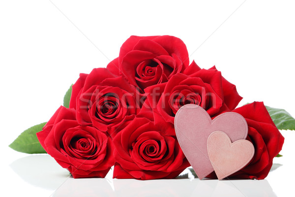Stock photo: Heart tags with red roses
