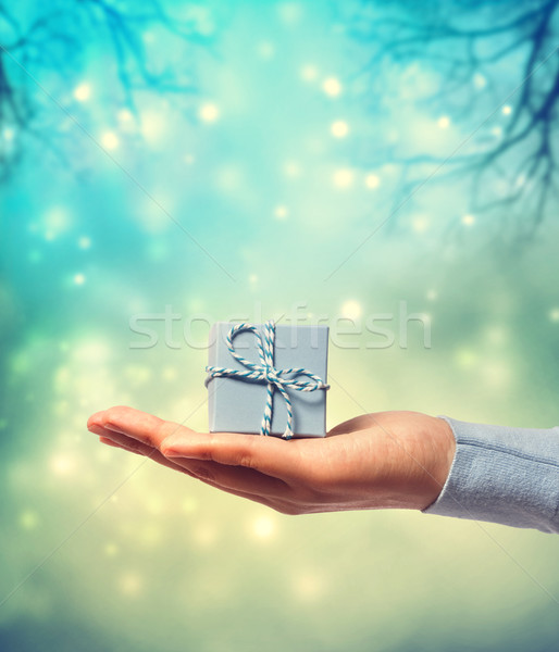 Stock photo: Presenting a small blue gift box