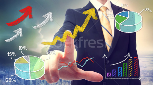 Zakenman wijzend pijlen grafiek cartoon Stockfoto © Melpomene