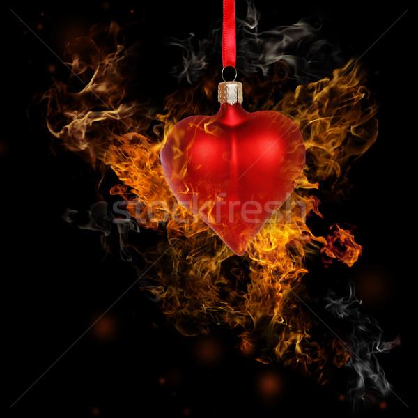 Feuer Herz Spielerei schwarz Liebe Hintergrund Stock foto © Melpomene