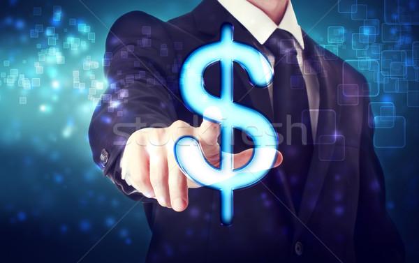 бизнесмен указывая доллара икона синий Tech Сток-фото © Melpomene