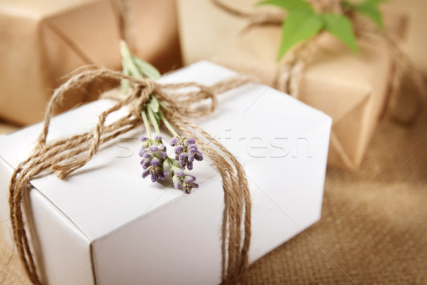Handmade Gift Box with Lavender Sprig Stock photo © Melpomene