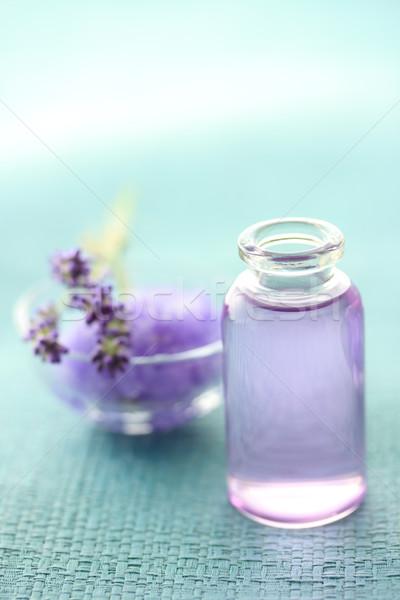 Aromaterapi yağ lavanta mavi doğa Stok fotoğraf © Melpomene