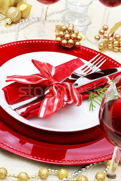 Dekore edilmiş Noel yemek masası ev cam tablo Stok fotoğraf © Melpomene