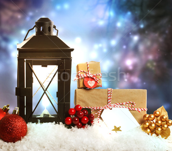 Christmas lantern with ornaments and presents  Stock photo © Melpomene
