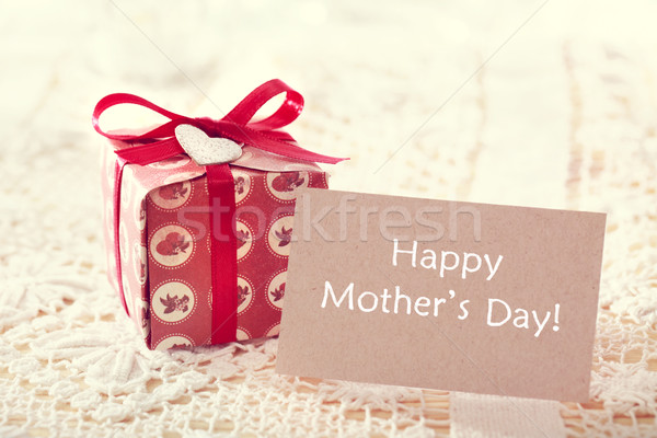 Mothers day message with hand crafted present box Stock photo © Melpomene