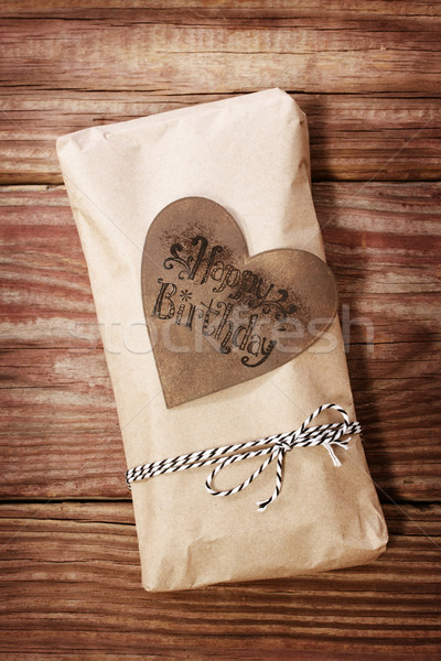 Happy Birthday gift box in a rustic earthy style Stock photo © Melpomene