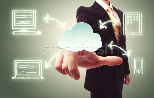 Biznesmen chmura icon vintage zielone Zdjęcia stock © Melpomene