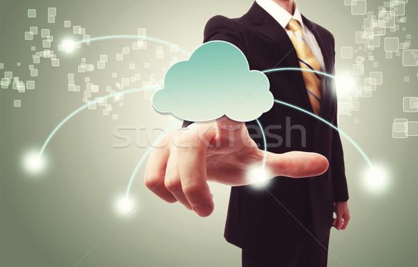 Biznesmen popychanie chmura icon zielone vintage sieci Zdjęcia stock © Melpomene