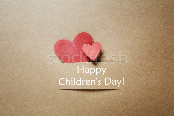 Childrens day message with red hearts Stock photo © Melpomene