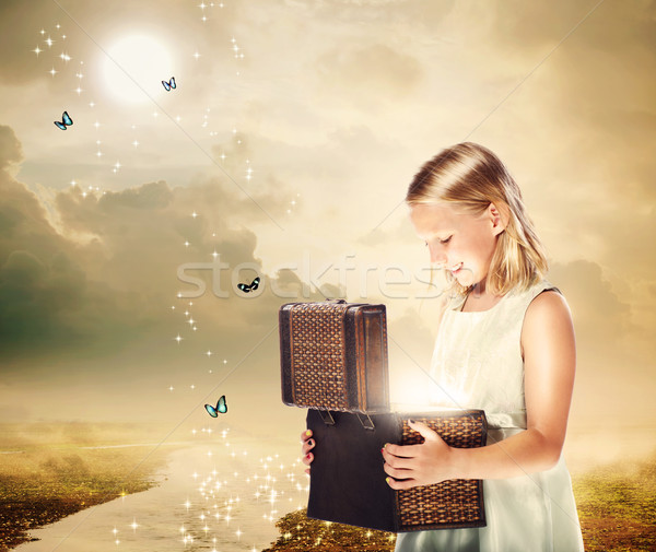 Blonde Girl Opening a Treasure Box Stock photo © Melpomene