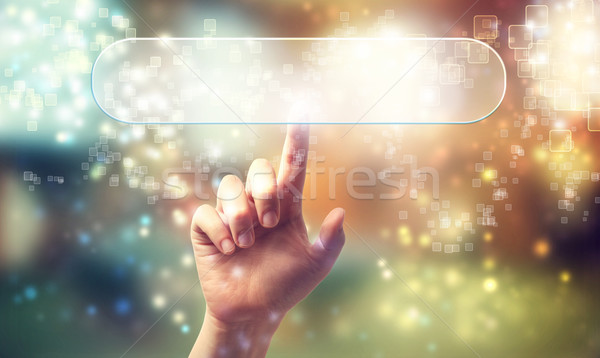 Rectangle button icon being pressed by a hand Stock photo © Melpomene
