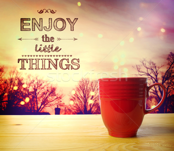 Cieszyć się mały rzeczy zapach kawy tekst Zdjęcia stock © Melpomene